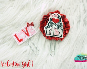 Planner Clip Set { Valentine Girl } love heart valentine's day Paper Clips, Stationary, Birthday party favors, kikkik, happy planner