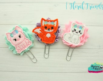 Planner Clip { Floral Friends } pink pig, fox, cat, zoo, animal Paper Clips, Stationary, Planner Supplies, kikkik, happy planner