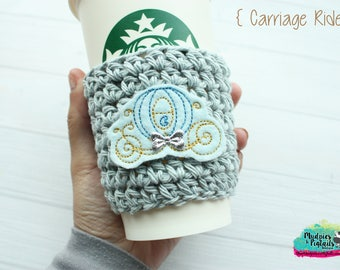 Crochet Coffee Cozy { Blue Carriage } Cinderella's Castle, princess Coffee cup sleeve, stocking stuffer, tea for ceramic plastic cups