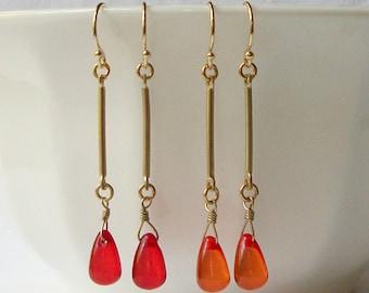 Orange Dangle Earrings,  Red Dangle Earrings, Eco-Friendly Earrings by Perini