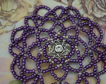 Purple Beaded Kippah - Women Beaded Kippah - Temple Kippah - Yarmulke for Women.