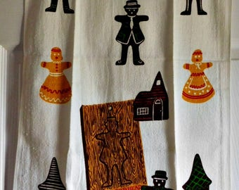 Vintage Gingerbread Themed Kitchen Towel-NOS