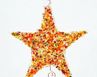 Glassworks Northwest - Sprinkle Star Earthy Tones - Fused Glass Suncatcher or Ornament
