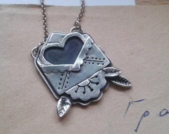 Love Letter Necklace Sterling Silver - Love Letter Tattoo Sterling Silver - Oldschool Tattoo Jewelry - Love Letter and Envelope Necklace