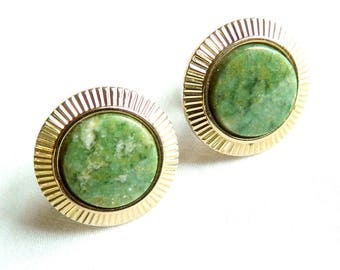 Vintage Green Genuine Jasper Cabochon Cuff Buttons or Cuff Links