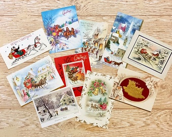 10 Vintage Christmas Cards with Winter Scenes, Midcentury Cards, 1950s-1960s Christmas Cards Snow Scenes #5