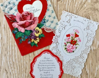 Two Vintage Valentine Cards for Mom and Aunt from the 1940s and 1960s, Roses, Satin, Embossing, Lace, Doily