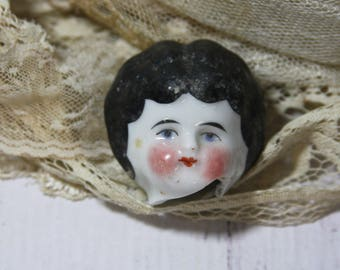 Antique Painted Doll Head from Germany European Frozen Charlotte- Altered Art Supply Doll Parts- Porcelain Doll Head