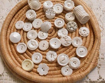 Bulk Vintage Decorative WHITE BUTTONS Mixed LOT Multi Designs, Prs Singles, Art Sewing Clothing Jewelry Collage, 65 pcs Destash Notions 7