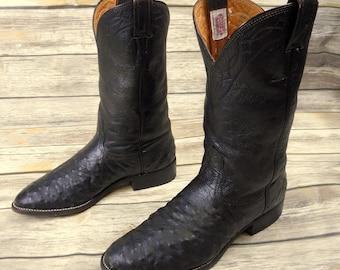 Mens 8.5 D Cowboy Boots Nocona Ostrich Black Country Western Exotic Biker Shoes