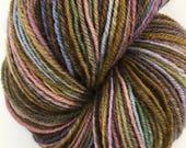 """Handspun Sock Yarn """"Dark Waves"""" 420 yds corriedale wool"""