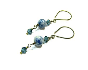 ON SALE Blue Sodalite Dangle Drop Earrings Crystal Earrings Swarovski Earrings Sodalite Earrings Popular Jewelry Gifts for Women