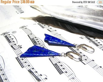 On Sale Hand Painted Triangle Earrings Cobalt Blue Earrings Gift Ideas Textured Earrings Most Popular Jewelry