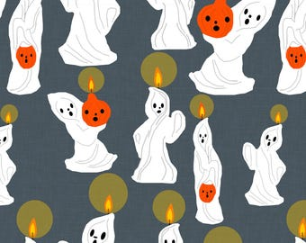 Ghost Fabric - The Candle Ghosts By Heidikenney - Ghost Vintage Retro Haunted House Halloween Cotton Fabric By The Yard With Spoonflower