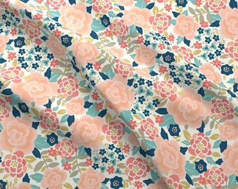 Mod Pink Floral Fabric - Pretty Floral By Laura_Mayes - Modern Pink Floral Cotton Fabric By The Yard With Spoonflower