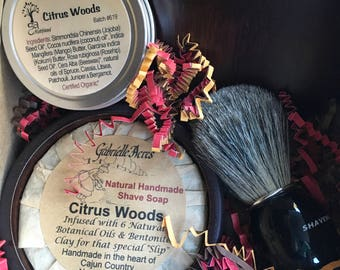 Men's Shaving Gift, All Natural Shave Soap, Shave Balm, Wooden Shave Bowl and Badger Shaving Brush, Essential Oil Shave Soap, Gift Box