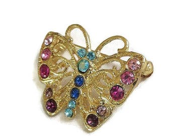Vintage Butterfly Brooch with Multi-Color Rhinestones