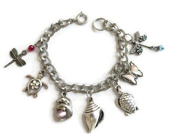 SALE Vintage Beach and Garden Charm Bracelet with Charms Turtles, Butterfly, Dragonfly