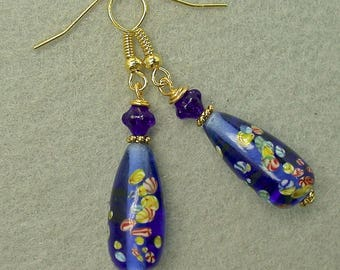 Vintage Japanese Millefiori BLUE Glass Flower Teardrop Bead Earrings, Vintage Blue German Pressed Glass, Gold French Ear Wires -GIFT WRAPPED