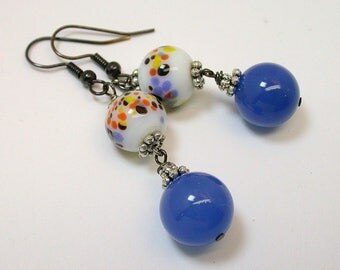 Vintage Japanese White Millefiori Glass Bead Dangle Earrings Orange Yellow Glass ,Vintage Blue Chalcedony Beads, Gold French Ear Wires