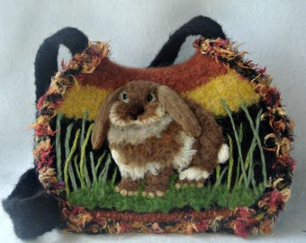 Felt Purse, Felt Handbag, Lop Eared Bunny, Needle Felt Rabbit, Bunny Art, Felted Fantasies, Fiber Art