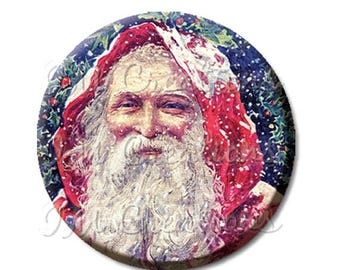 "20% OFF - Pocket Mirror, Magnet or Pinback Button - Favors - 2.25""- Vintage Victorian Santa Claus MR205"