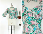 Vintage 1940s Blouse - Stunning Early 50s Printed Silk Blouse with Green, Bright Pink and Turquoise Floral Print
