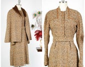 Vintage 1950s Dress Set -  Gorgeous Multicolored Tweed 50s Dress and Matching Cape with Faux Fur Trim and Button Accents