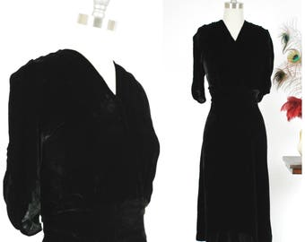 Vintage 1930s Dress - Sultry Black Silk Velvet Late 1930s Dress with Gathered Shoulders, Midwaist and Surplice Neckline