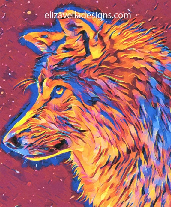 abstract wolf spirit original art print animals colorful art prints original digital artwork for sale by artist