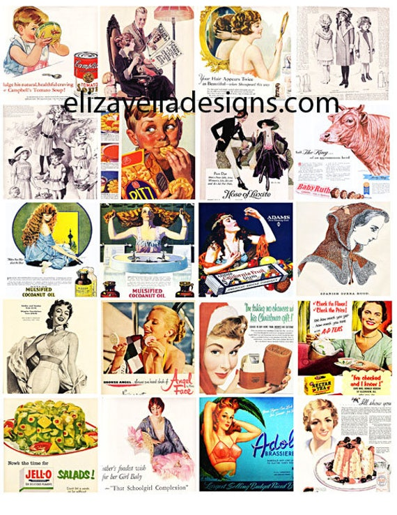 vintage advertisements 2 inch squares clip art digital collage sheet download graphics images vintage ads art printables food beauty clothes