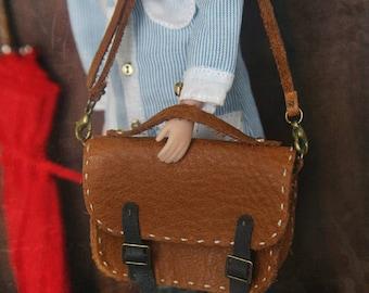 jiajiadoll - handmade real coffee brown leather school bag fit momoko misaki blythe azone middie lati imda