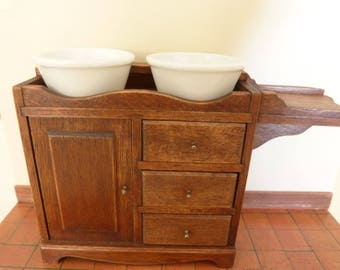dollhouse miniature dry sink with a pair of ceramic bowls