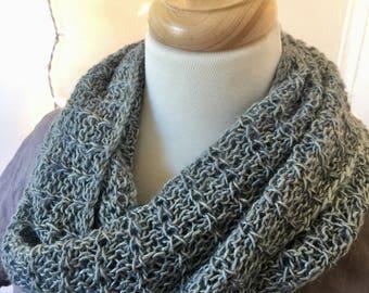 Glacial melt infinity scarf, handknit cowl, tussah silk
