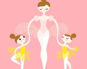 "SUMMER SALE 8X10"" ballerina mommy and twins giclee print on fine art paper. pink, yellow, light brunette"