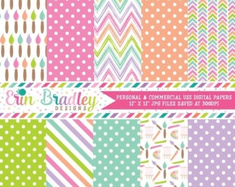 80% OFF SALE Girls Art Party Digital Paper Pack Polka Dots Paint Brushes Stripes Chevron & Herringbone Patterns Commercial Use OK