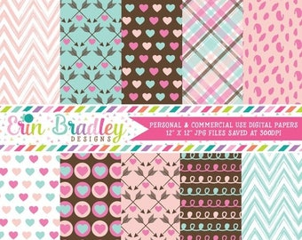 80% OFF SALE Love Valentines Day Digital Paper Pack Hearts Chevron Plaid Arrow Spotty Dot and Doodle Patterns in Pink Blue & Brown Commercia