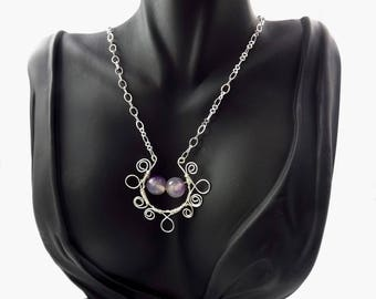Wire Wrapped Scroll Necklace, Purple Agate Pendant,  Purple Agate Bead Necklace, Statement Necklace, Handcrafted Jewelry