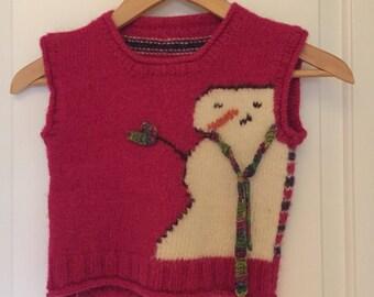 Girl's handknit snowman vest