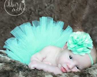 Mint Baby tutu set, Newborn Tutu AND Satin Mesh Flower Headband, New baby girl, newborn photo prop, baby girl pict, baby tutu, new b