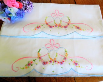 NOS Pillowcases, Hand Embroidered Pillowcases, Never Used Pillowcases, Pink Pillowcases,