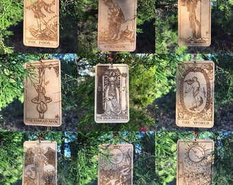 Tarot Card Ornament (wooden, Yule, Christmas, Winter Solstice)