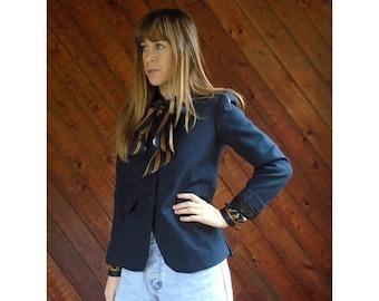 20% off SUMMER SALE. . . Navy Blue Woven Blazer Jacket - Vintage 80s - XS/S