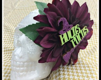 Halloween Hair Flower, Hair Flower, Halloween Hair Clip, Pinup Hair Flower, Hocus Pocus, Witch Costume, Goth Hair, Halloween Fascinator,