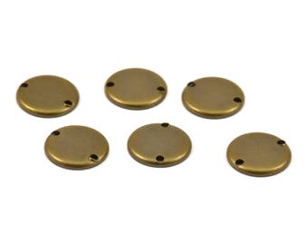 Brass Round Connector, 20 Antique Brass Round Connectors, 2 Holes Setting , Findings  (10mm) K073
