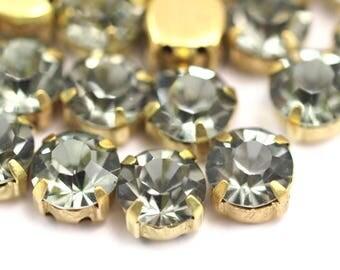 Brass Prong Setting, 20 Ss38 Black Diamond Chaton Sew On Rhinestone Raw Brass Prong Setting With4 Hole Slider