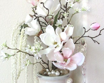 Ivory and Blush Victorian Silk Floral Arrangement with Pearl Accents