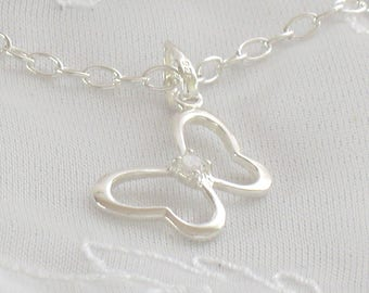 Children's Sterling Silver Cubic Zirconium Butterfly Pendant and Chain