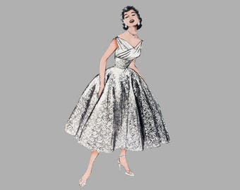 1950s Ball gown pattern Butterick 6810 Ballerina / full length evening dress Bust 32 Complete Circle skirt Molded midriff