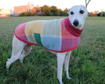 raspberry gelati...winter coat for a small whippet in vintage wool blanket and fleece